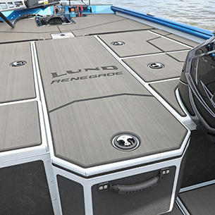 Renegade Center Rod Storage Compartment Closed shown with Optional Stick-On Marine Mat
