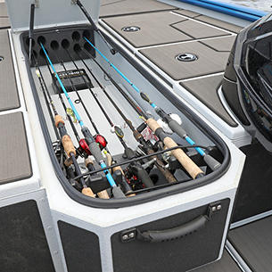 Renegade Center Rod Storage Compartment Open shown with Optional Stick-On Marine Mat