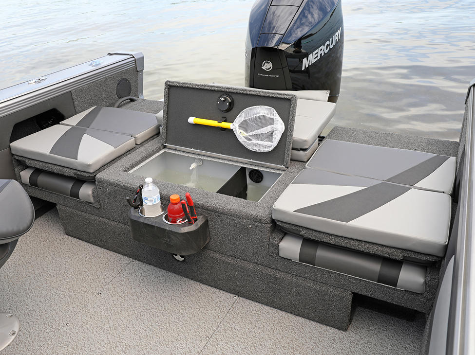 Tyee Aft Deck Livewell shown with Optional Aft Deck Sun Pad