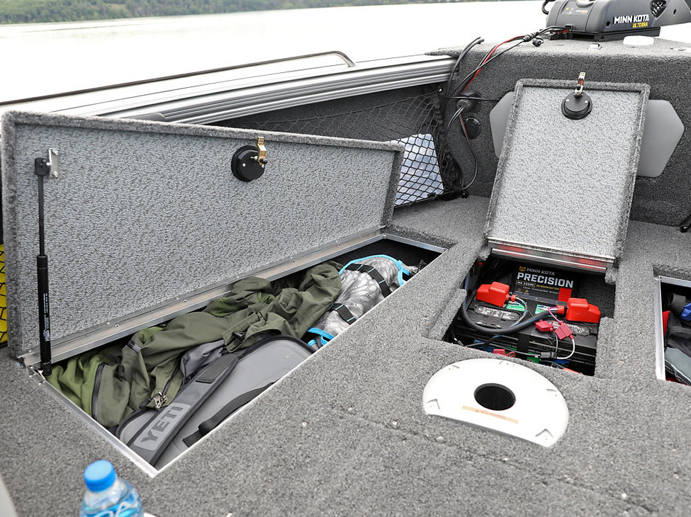 Tyee Bow Deck Port Storage Compartments Open