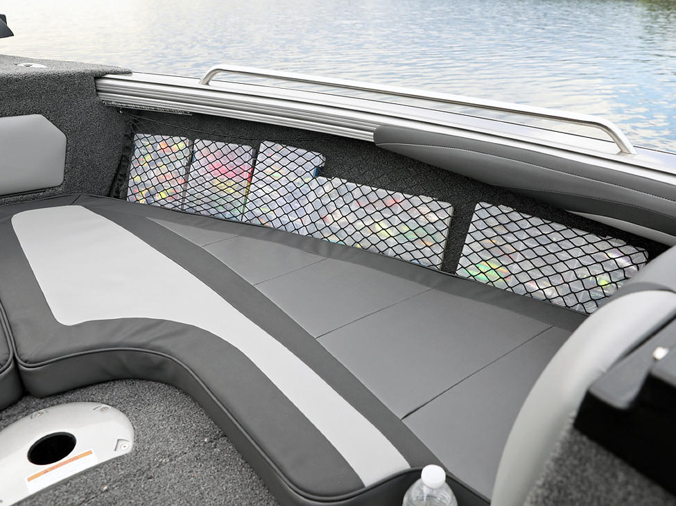 Tyee Bow Storage Nets - Starboard Side (shown with Optional Bow Cushion Set)
