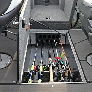 Tyee In-Floor Rod Storage Compartment Open (Shown with Optional Marine Mat)