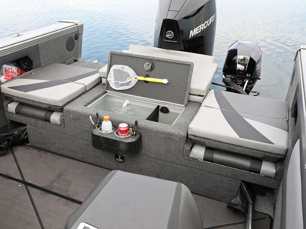 Tyee Optional Aft Deck Sun Pad with Livewell Open