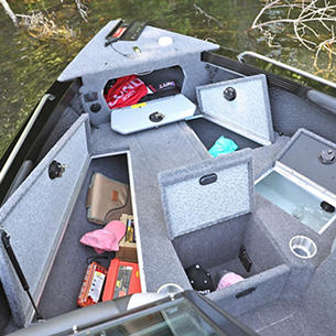 Tyee Bow Deck Storage Compartments Open