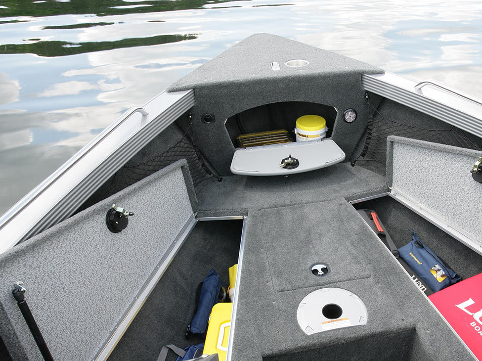 Tyee Magnum Bow Deck Storage Compartments Open