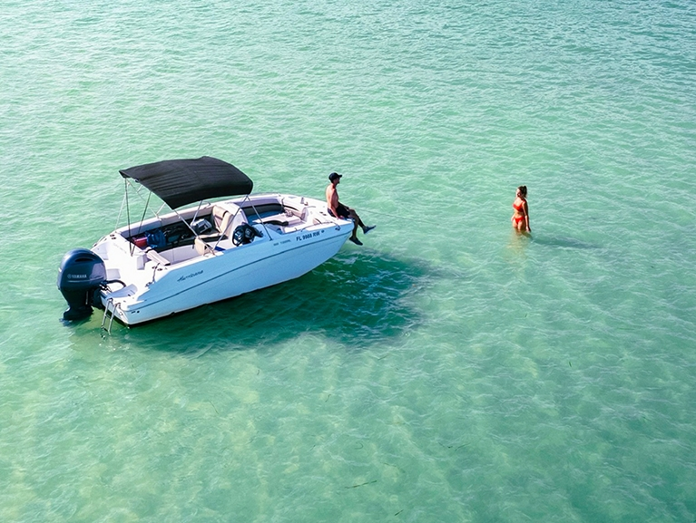 Aerial View of Couple at the Sand Bar