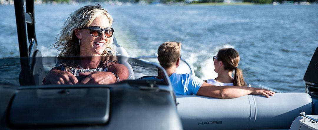 Family on pontoon boat