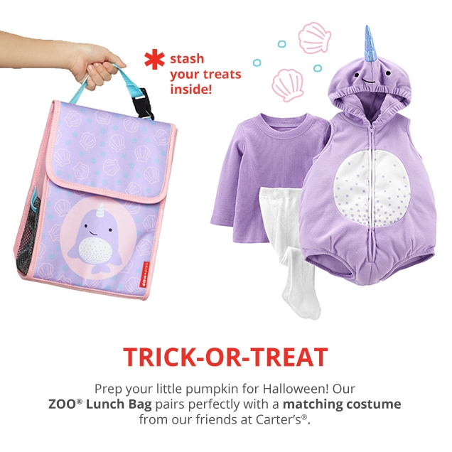 *stash your treats inside! | TRICK‐OR‐TREAT | Prep your little pumpkin for Halloween! Our ZOO® Lunch Bag pairs perfectly with a matching costume from our friends at Carters®