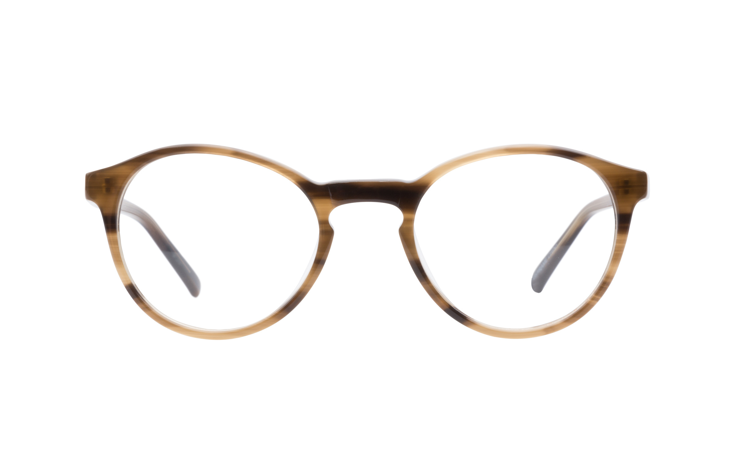 7 For All Mankind 753 Brown Horn eyeglasses are modern with a vintage appeal. This round acetate frame has a semi-transparent brown horn finish and a classic keyhole bridge cutout. The temples are kept bare and minimalistic with a discreet engraving a 7 For All Mankind logo at the tips.