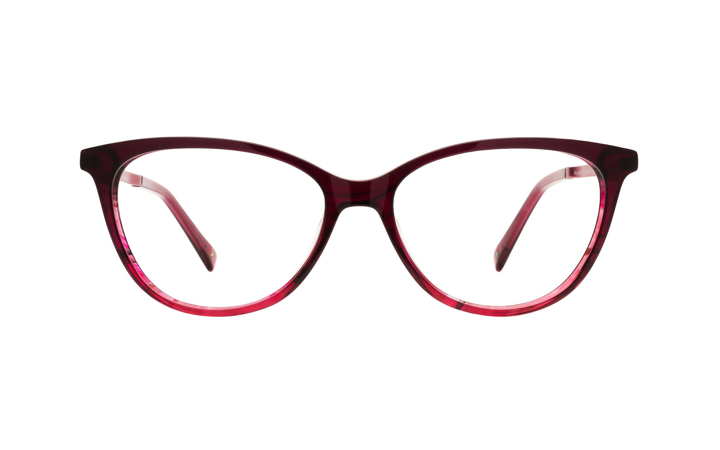 Women's Red Acetate/Metal Cat-Eye Derek Cardigan Glasses - Clearly Glasses Online