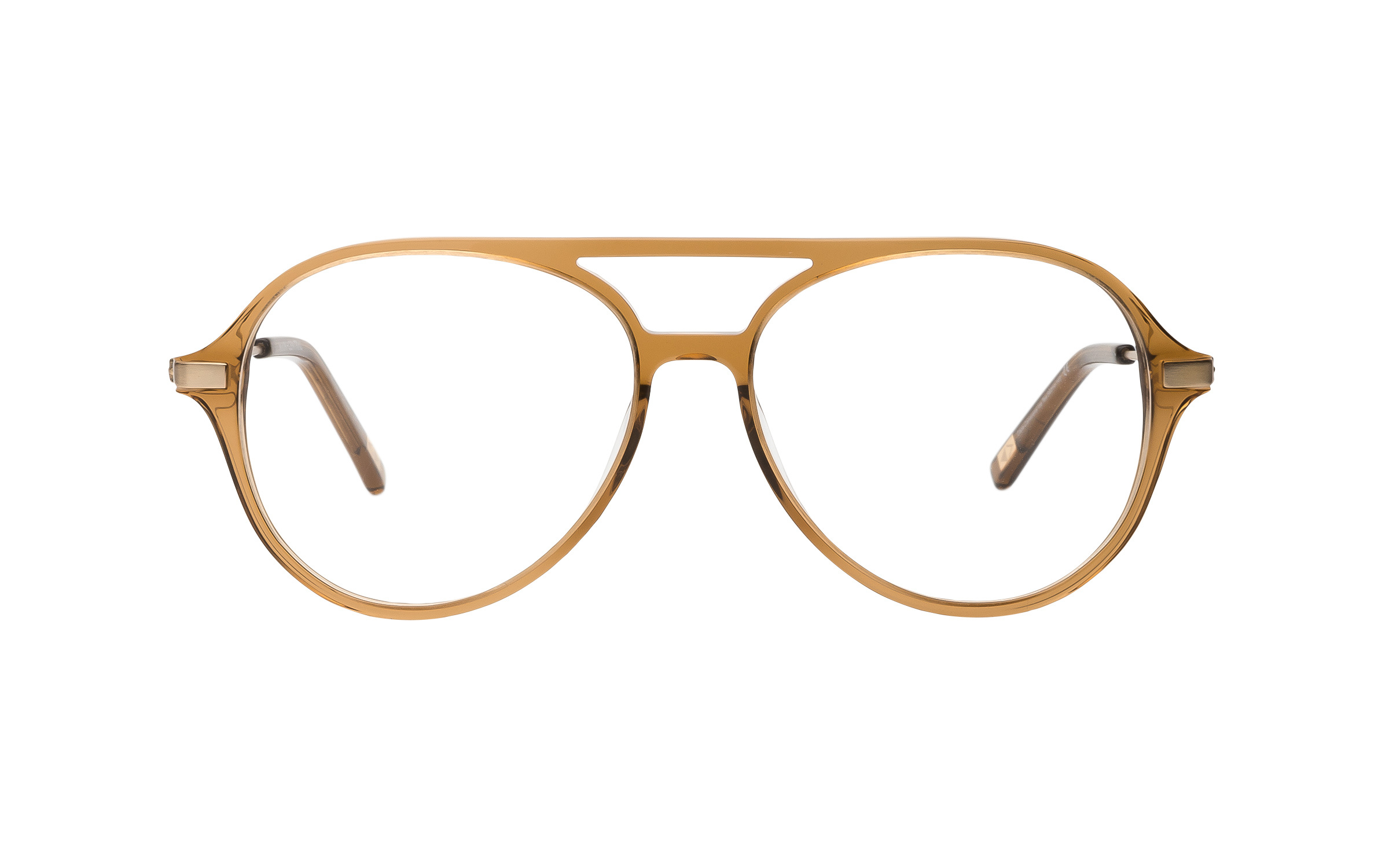 Men's Brown, Clear Aviator Main and Central Glasses - Clearly Glasses Online