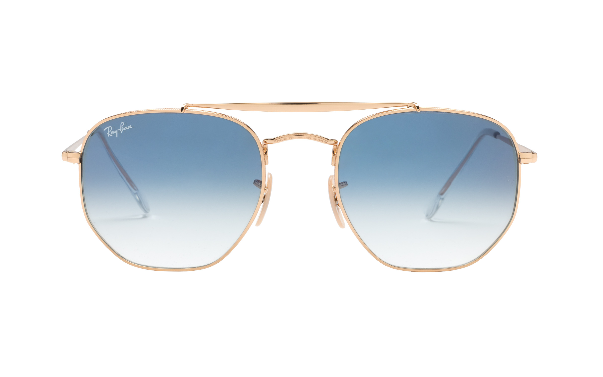 Ray-Ban Marshal 3648 001 3F 54 Sunglasses in Light Blue Gradient Gold | Metal - Online Coastal