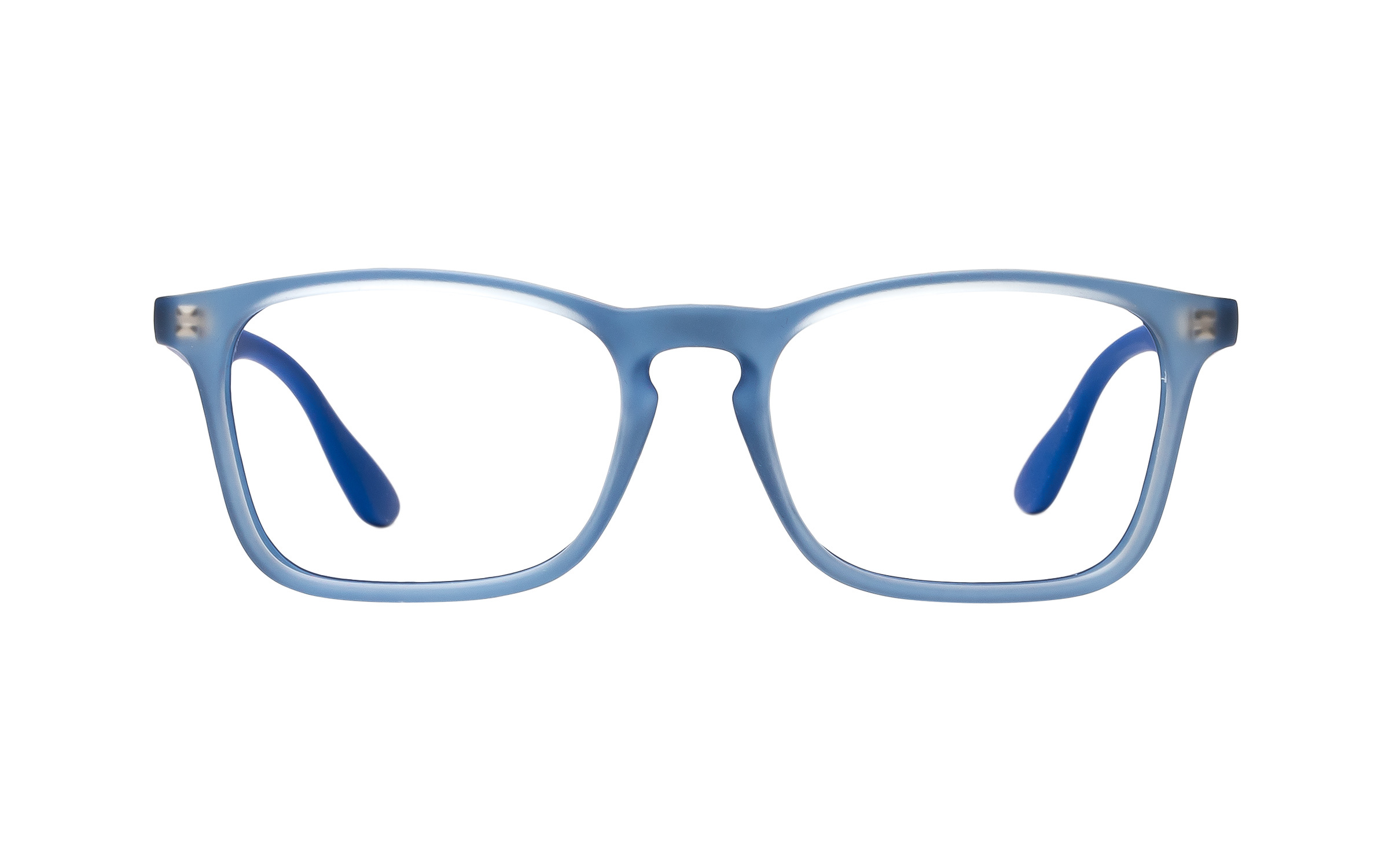 Luxottica Ray-Ban Wayfarer Junior Vista RY1553 3668 (48) Eyeglasses and Frame in Rubber Electric Blue/Clear | Acetate - Online Coastal