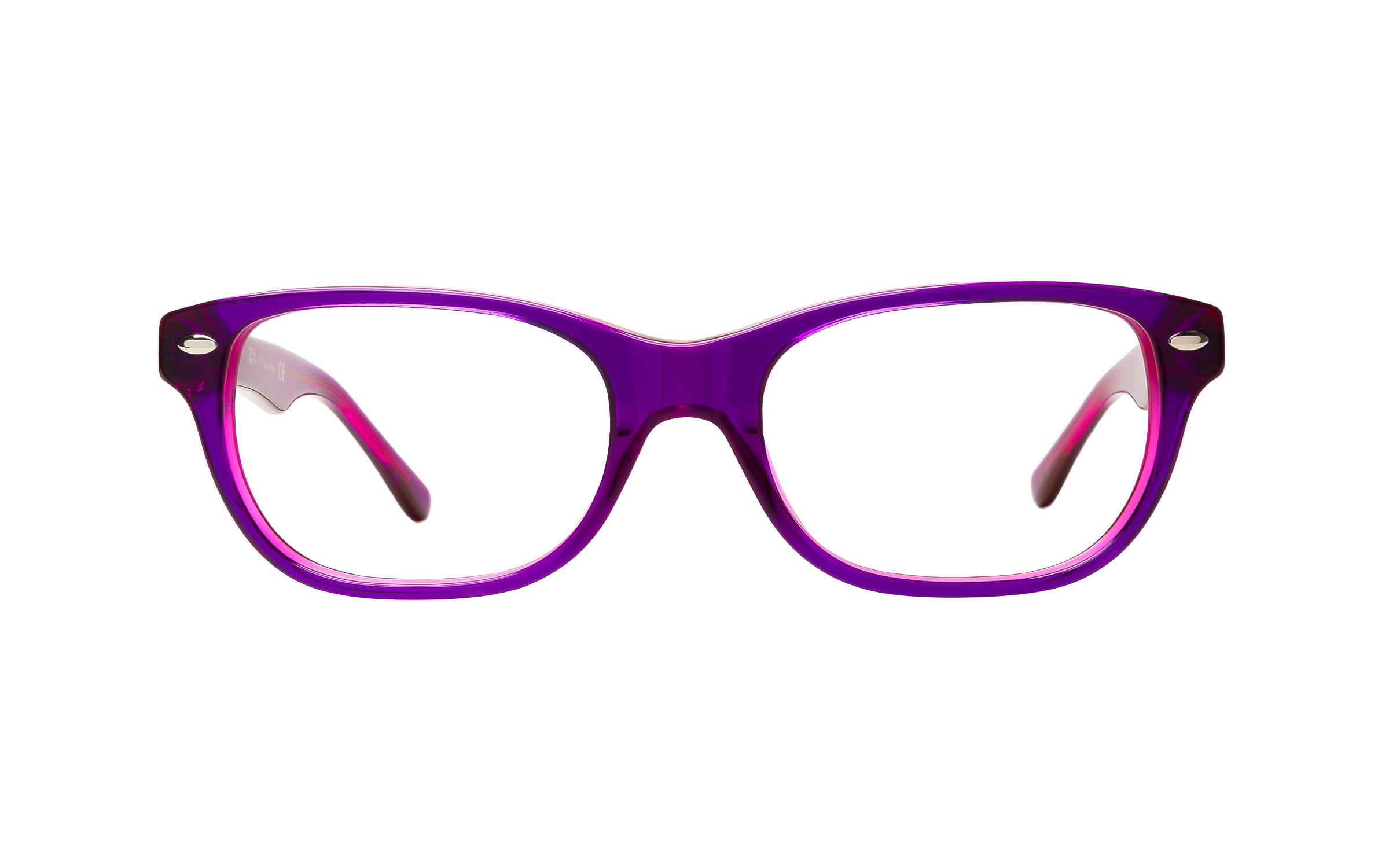 Luxottica Ray-Ban Junior Vista RY1555 3666 Top (48) Eyeglasses and Frame in Violet On Fuchsia Fluorescent Purple/Pink - Online Coastal