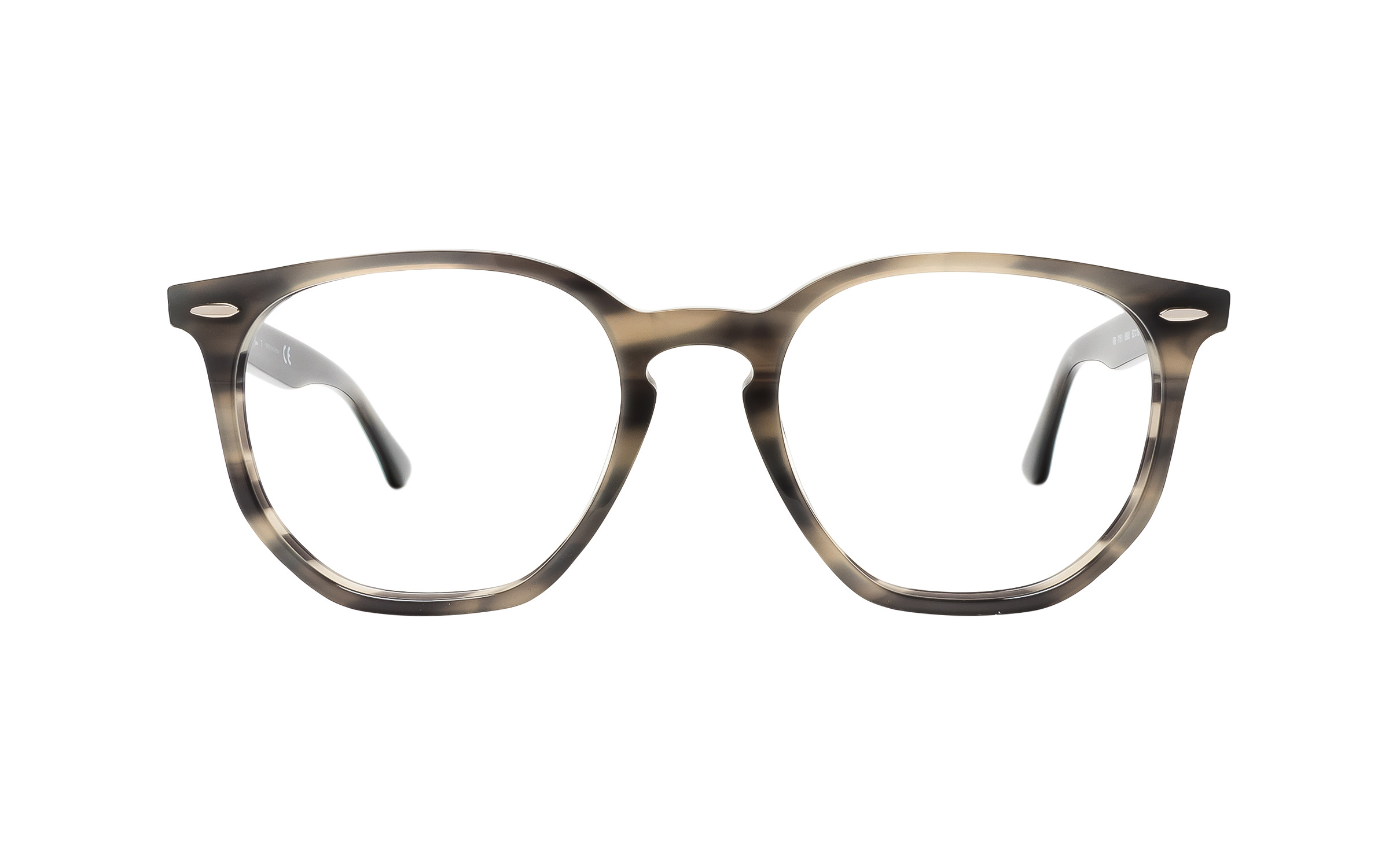 Luxottica Ray-Ban Hexagonal RX7151 5800 (52) Eyeglasses and Frame in Grey/Tortoise | Metal - Online Coastal