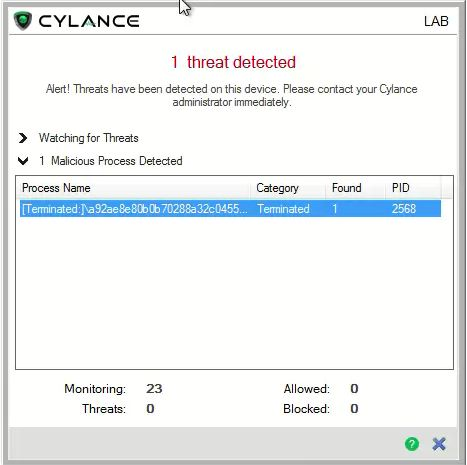 CylancePROTECT MemDef here to save the day!