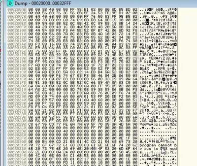 Unpacked malware in memory segment