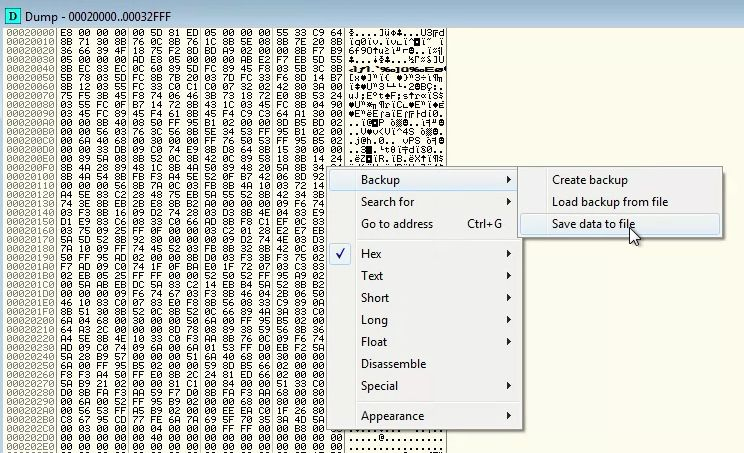 Writing memory segment to disk