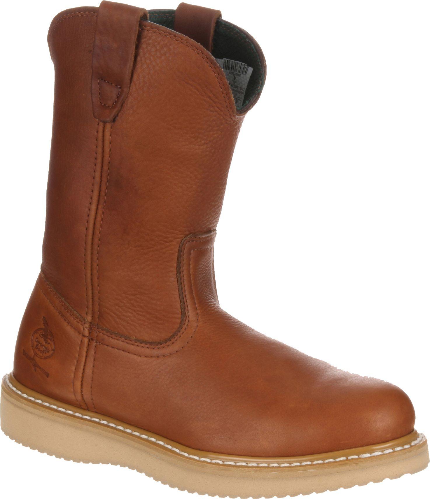 Men's Georgia Boot Farm & Ranch Wellington Work Boots (Barracuda Gold)