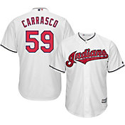 Majestic Men's Replica Cleveland Indians Carlos Carrasco #59 Cool Base Home White Jersey