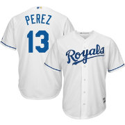 Majestic Men's Replica Kansas City Royals Salvador Perez #13 Cool Base Home White Jersey