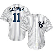 Majestic Men's Replica New York Yankees Brett Gardner #11 Cool Base Home White Jersey