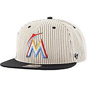 '47 Men's Miami Marlins Woodside Captain Pinstripe Adjustable Hat