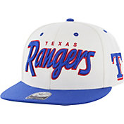'47 Men's Texas Rangers Retro Wordmark White/Royal Adjustable Snapback Hat