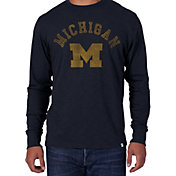 '47 Men's Michigan Wolverines Blue Wordmark Long Sleeve T-Shirt