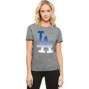 '47 Women's Los Angeles Dodgers Super Hero Grey Scoop Neck T-Shirt