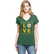 '47 Women's Oakland Athletics Club Green V-Neck T-Shirt