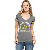 '47 Women's Oakland Athletics Fantasy Grey Scoop Neck T-Shirt