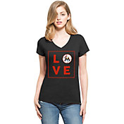 '47 Women's Miami Marlins Club Black V-Neck T-Shirt