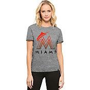 '47 Women's Miami Marlins Super Hero Grey Scoop Neck T-Shirt
