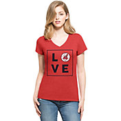 '47 Women's Cleveland Indians Club Red V-Neck T-Shirt
