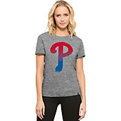 '47 Women's Philadelphia Phillies Super Hero Grey Scoop Neck T-Shirt
