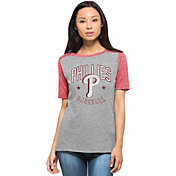 '47 Women's Philadelphia Phillies Empire Grey/Red Raglan Half-Sleeve Shirt