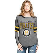 '47 Women's Pittsburgh Pirates Grey Courtside Long Sleeve Shirt