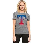'47 Women's Texas Rangers Super Hero Grey Scoop Neck T-Shirt