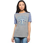'47 Women's Texas Rangers Empire Grey/Royal Raglan Half-Sleeve Shirt
