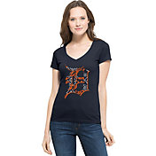 '47 Women's Detroit Tigers Flanker MVP Navy V-Neck T-Shirt