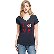 '47 Women's Minnesota Twins Club Navy V-Neck T-Shirt