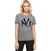 '47 Women's New York Yankees Super Hero Grey Scoop Neck T-Shirt