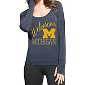'47 Women's Michigan Wolverines Blue Dash Long Sleeve Shirt