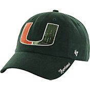 '47 Women's Miami Hurricanes Green Clean Up Sparkle Adjustable Hat