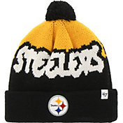 '47 Youth Pittsburgh Steelers Underdog Black Pom Knit Hat