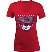 5th & Ocean Women's Atlanta Braves Red V-Neck T-Shirt