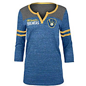 5th & Ocean Women's Milwaukee Brewers Navy Three-Quarter Sleeve Shirt