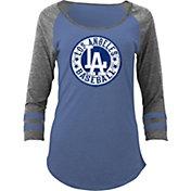 5th & Ocean Women's Los Angeles Dodgers Royal Tri-Blend Three-Quarter Sleeve Shirt