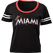 5th & Ocean Women's Miami Marlins Black Scoop Neck Shirt